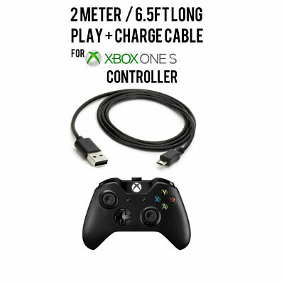 2M Long Play&Charge Cable Charging Cable Cord for Xbox One S Wireless Controller