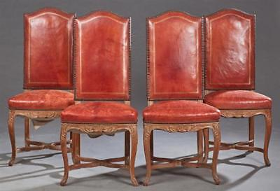 Set of Four French Carved Walnut Highback Louis XVI Style Dining Chai... Lot 698