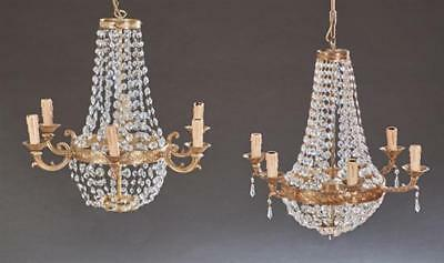 Pair of French Empire Style Gilt Bronze Six Light Corbeille Chandelie... Lot 908