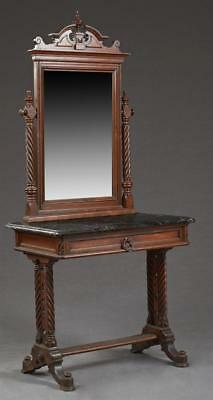 English Carved Mahogany Marble Top Dressing Table, late 19th c., in t... Lot 960