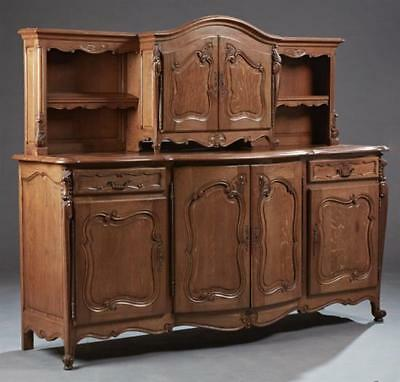 French Provincial Louis XV Style Carved Oak Buffet a Deux Corps, 20th... Lot 870