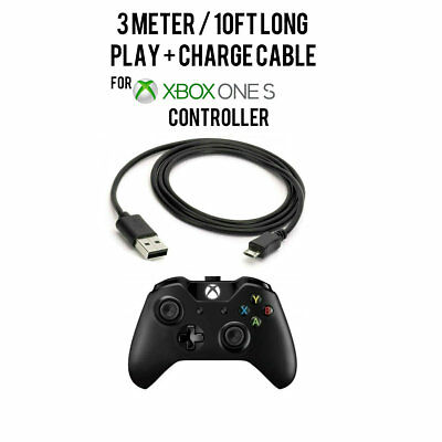 3M Long Play&Charge Cable Charging Cable Cord for Xbox One S Wireless Controller