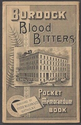 BURDOCK BLOOD BITTERS 16 PAGE ADV POCKET MEMORANDUM BOOK, NY AGENT dated 1891