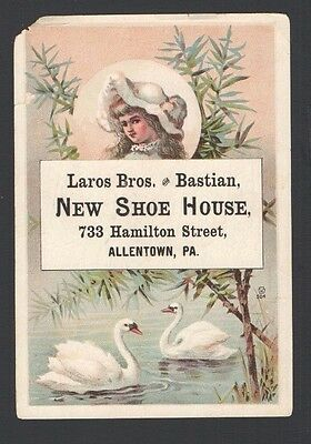 Victorian Trade Card Laros & Bastian NEW SHOE HOUSE Allentown, PA  Swans on Pond