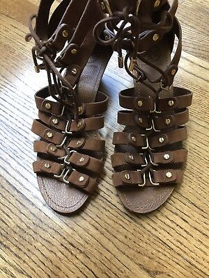 Designer Tory Burch Demi Wedge SandalBrown Suede w/ Gold Hardware Lace up size9