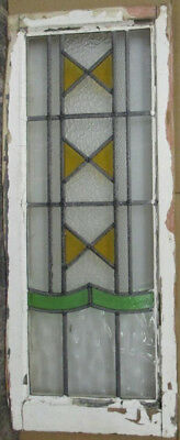 "LARGE OLD ENGLISH LEADED STAINED GLASS WINDOW Towering Geometric 15"" x 36.5"""