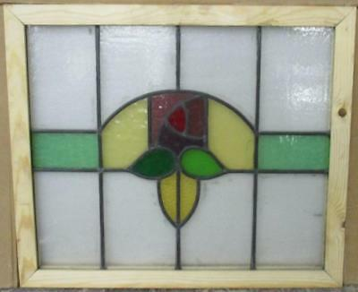 "OLD ENGLISH LEADED STAINED GLASS WINDOW Colorful Floral 22.75"" x 19.5"""
