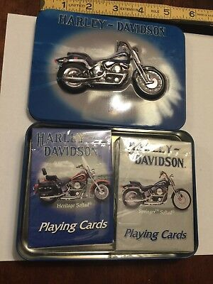 Harley Davidson playing cards tin w/Original 2 decks of cards in orig. box 2001