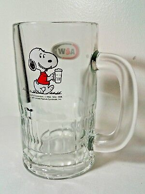 VINTAGE SNOOPY A&W ROOT BEER MUG PEANUTS HEAVY GLASS Advertising 1971 Mint