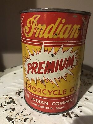 Old Antique Vintage INDIAN Motorcycle One Full Quart 1930 1940's Oil Can Rare