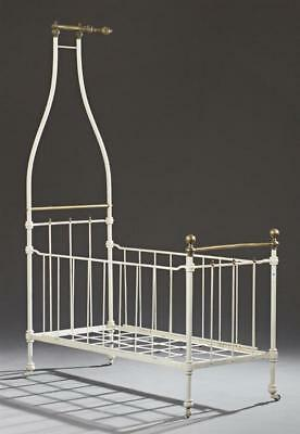 French Child's Brass and Iron Canopy Bed, early 20th c., the circular... Lot 972