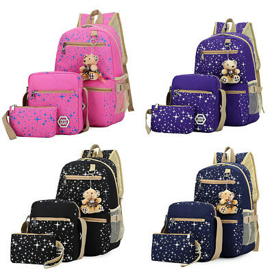 3Pcs Girl Backpack School Bags Women Shoulder Bag Rucksack Canvas Travel Satchel