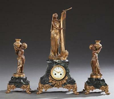 Three Piece Patinated Spelter and Verde Antico Marble Clock Set, c. 1... Lot 301