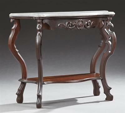 American Carved Walnut Demilune Marble Top Console Table, 19th c., th... Lot 279