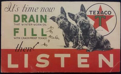Texaco 1933 Reminder Postcard Drain Winter Oil Fill with Crack-proof Texaco
