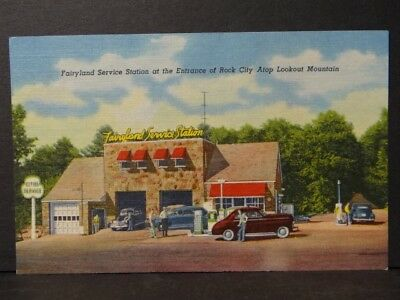 Fairyland Service Station Cities Service Rock City Atop Lookout Mountain Ad Card