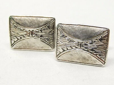 Vtg 900 Coin Silver Cufflinks Solid Etched Ornate Pattern Mid-Century Geometric