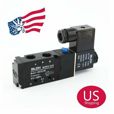 "US Stock AC110V 4V210-08 5 Way 2 Position Pneumatic Air Solenoid Valve 1/4"" BSPT"
