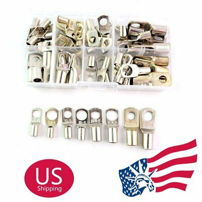 US Stock 60Pcs Electrical Wire Copper Lug Battery Cable Connector Terminal Kit