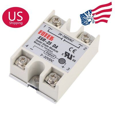 US Stock 2Pcs 24-380 VAC 25 AMP SOLID STATE RELAY 3-32 VDC INPUT