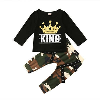 AU Hot Toddler Baby Kids Boys Long Sleeve T-shirt Camo Pants Outfits Clothes Set