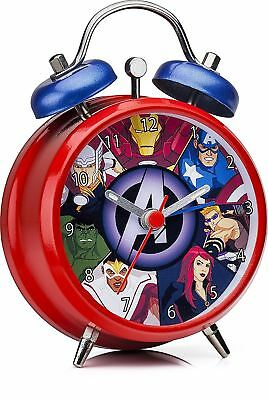 Marvel Avengers Child's Mini Twinbell Analogue Metal Hand Kids Alarm Clock
