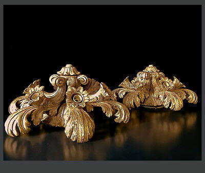 A Pair of Italian Baroque Style Wood Carved and Gilded Ceiling Lights, 47 x 22cm