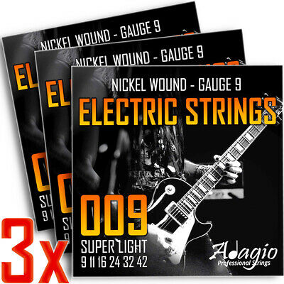 3 Full Packs Of Electric Guitar Strings Extra Light Gauge 9 - 42 Adagio Pro