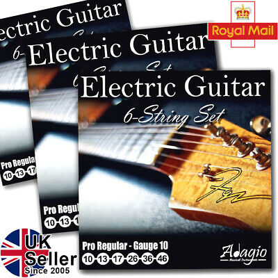 3 Full Packs Of Electric Guitar Strings Lights Gauge 10 - 46 Adagio Pro