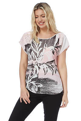 Roman Originals Women's Pink Abstract Floral Top Sizes 10-20