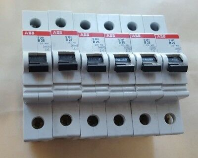 Lot Of 6 Abb S261 B25 Circuit Breaker (R1S6.3B1)