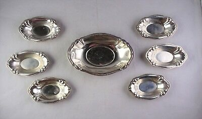 Sterling Silver Nut Candy Dish Set - Master Tray + 6 Small Trays - Marked