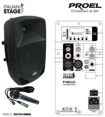 Italian Stage IS P108AUB Cassa attiva 300w USB Bluetooth + Proel DM800 Microf.