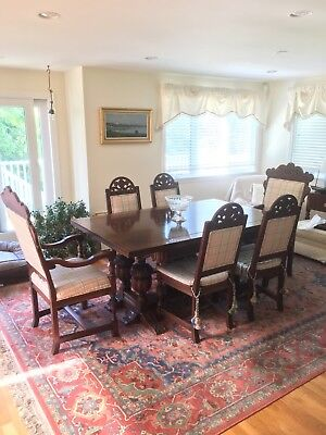 Antique Jacobean dining table, 6 chairs in beautiful condition