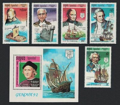 Cambodia Cook Darwin Cousteau Explorers 5v+MS SG#1253-MS1258