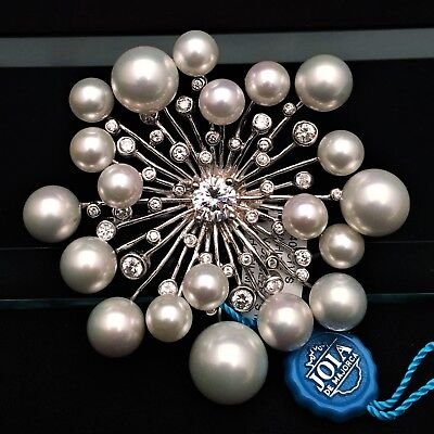 New Joia de Majorca White Pearl & CZ Starburst Brooch, Pin, Sterling Silver