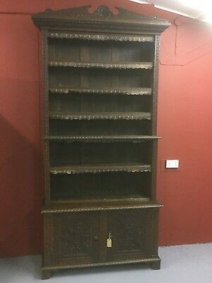 Antique Large Oak Carved Bookcase And Cupboard Sn-254