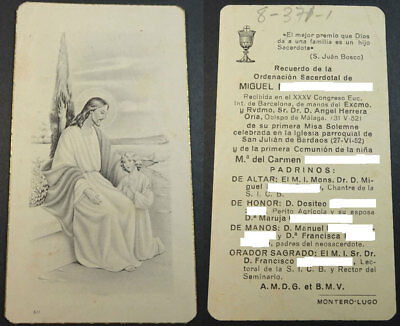 Estampa Holy Card Jesus Christ With Child Year 1952 Andachtsbild Santini  Cc1770
