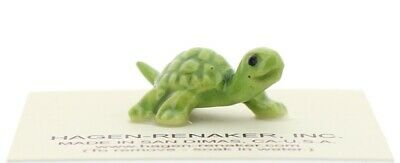 Green Baby Turtle Miniature Ceramic Figurine Made in USA by Hagen-Renaker