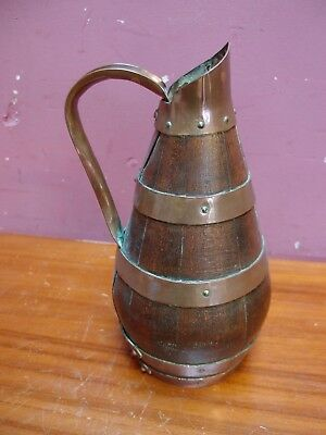 Oak And Brass Bound Coopered French Breton Cider Jug