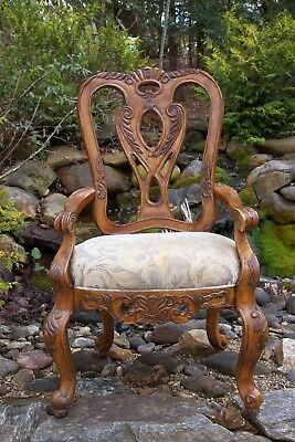 Schnadig Ornately Hand-Carved French Rococo Louis XV Style Upholstered Arm Chair
