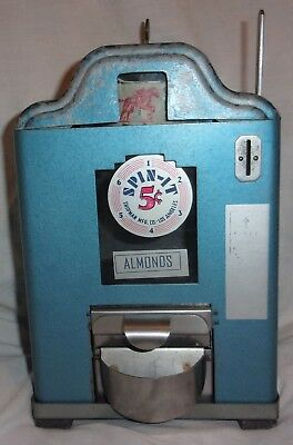 Vintage 1937 Shipman Mfg Co 5 CENT Spin-It Horse Racing Game Almond Dispenser w/