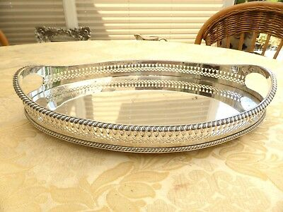Art Deco Silver Plated Oval Pierced Gallery Tray With Gadroon Rim    1370018/023