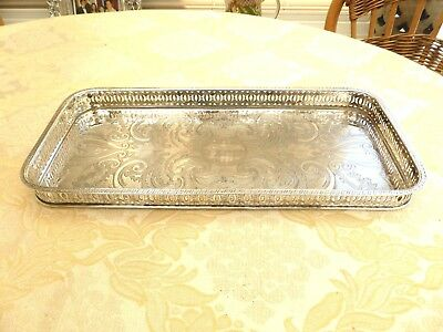 Elegant Silver Plated Rectangular Floral Engraved Gallery Tray    1370024/030