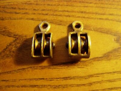 "PAIR 1/2""  wheel DOUBLE  BRONZE PULLEY BLOCK BOAT SHIP BRASS TACKLE"