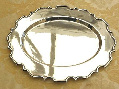 Walker & Hall Art Deco Oval Silver Plated Scallop Edge Serving Tray  1370013/017