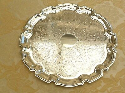Vintage Round Silver Plated Scalloped Floral Engraved Serving Tray   1370009/012