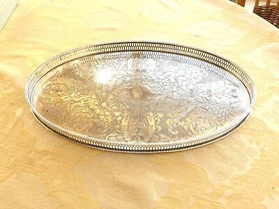 Viners Vintage Oval Silver Plated Floral Patterned Gallery Tray    1350616/622
