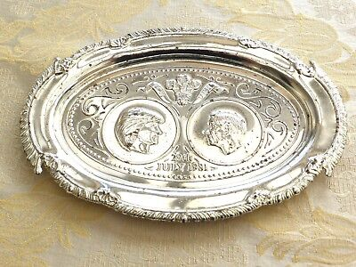 Vintage Charles & Diana 29Th July 1981 Oval Silver Plated Salver    1350594/596