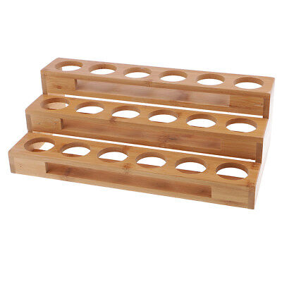 18 Slots Essential Oil Wooden Rack Tray Organizer - 3 Tiers Storage Case